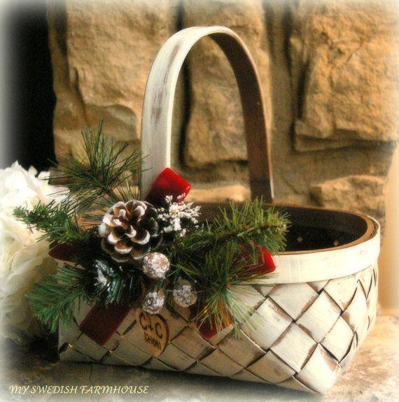 Flower Girl Basket Rustic Winter Christmas by MinSvenskaLandgard, $34.00