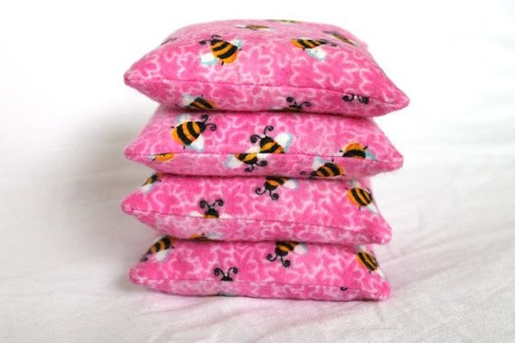 Make a pretty - floral bean bag toss...Bean Bags Bright Pink Bumble Bees Flannel by HandiworkinGirls, $12.95