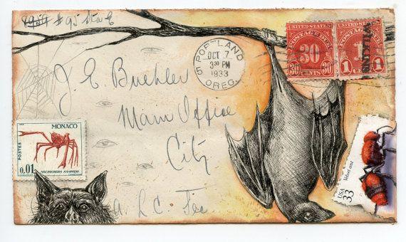 Bats Postcard by eyefun on Etsy