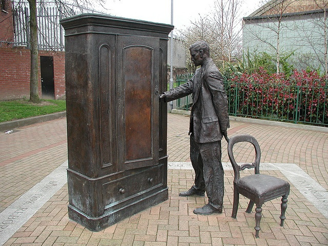 statue of C. S. Lewis and the famous Wardrobe stands outside the public library in Belfast, Northern Ireland