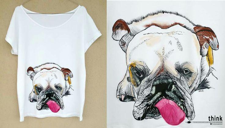Handpainted British bulldog illustration on white t-shirt.