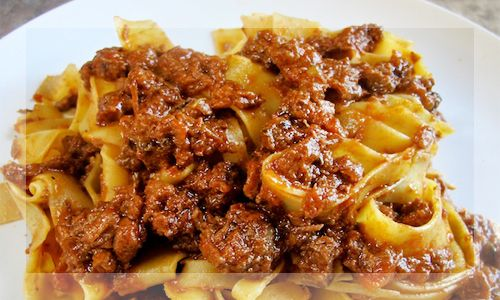 Pappardelle pasta with wild Boar Sauce - Original Food Italy