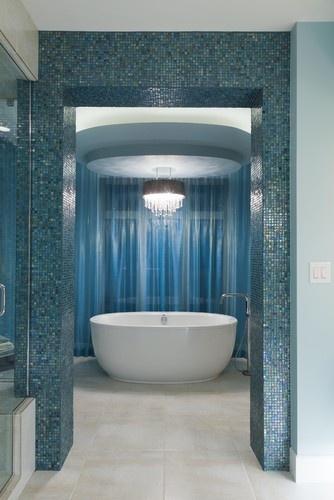 Ensuite eclectic bathroom.  This is heavenly. Houzz.com/Fenwick & Company Interior Design #bathroom #tile #mosaic  #tub #UnionTiles www.uniontiles.co.za