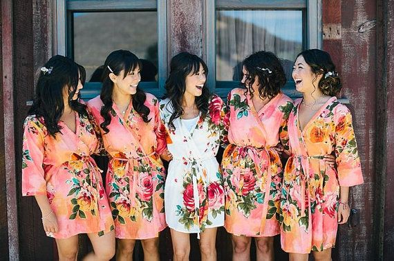 Bridesmaids Robes. Set of 5. Kimono Crossover Robe. Bridesmaids gifts. Getting ready robes. Bridal Party Robes. Floral Robes. Dressing Gown