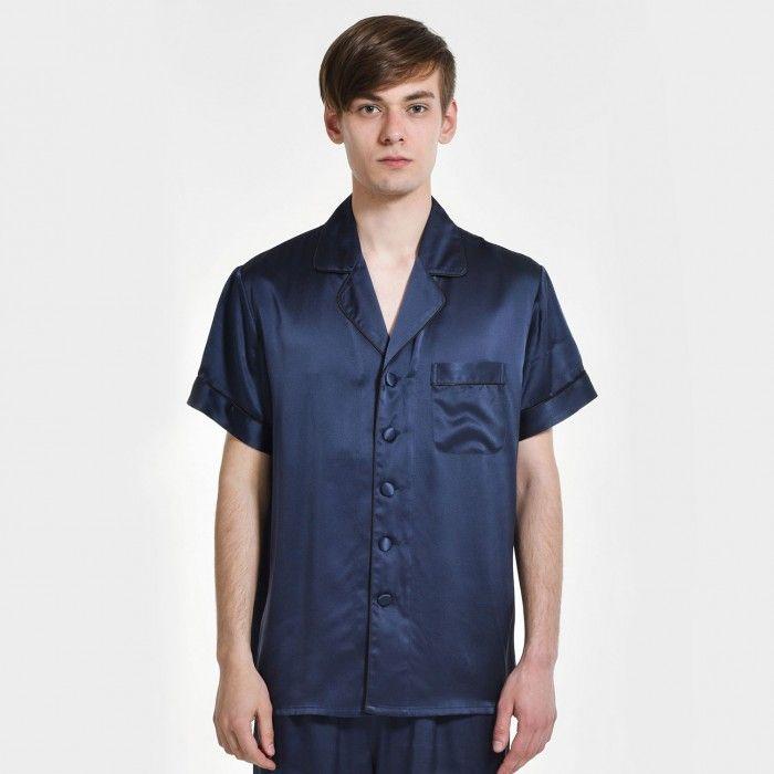 メンズシルク100%ナイトTシャツパジャマトップス 大きいサイズ-OOSilk