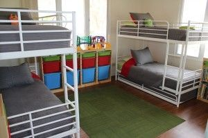 Here's a low budget idea for large families & those who need to fit 4 to 6 kids in one room. It works for our family without the kids feeling like sardines!