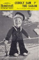 sailor toy from socks 1940's  Homecraft 337: Great little chap, vintage SEWING pattern for SAILOR SAM made from an old pair of sock (machine made)and some pink underwear material and rug wool (for hair) His stuffing is made from unravelled knitwear or shredded waste materials. All sizes and instructions included - another example of using waste materials during the and just after the war.