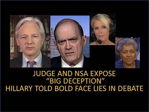 HILLARY AND DMC BUSTED...CAUGHT LYING IN DEBATE  JUDGE AND NSA...THE BIG DECEPTION...BRAZILE GUILTY