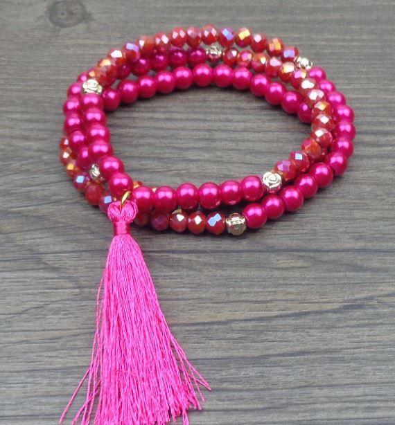 Pink Sparkling Mala Bracelet with Gold & Tassel