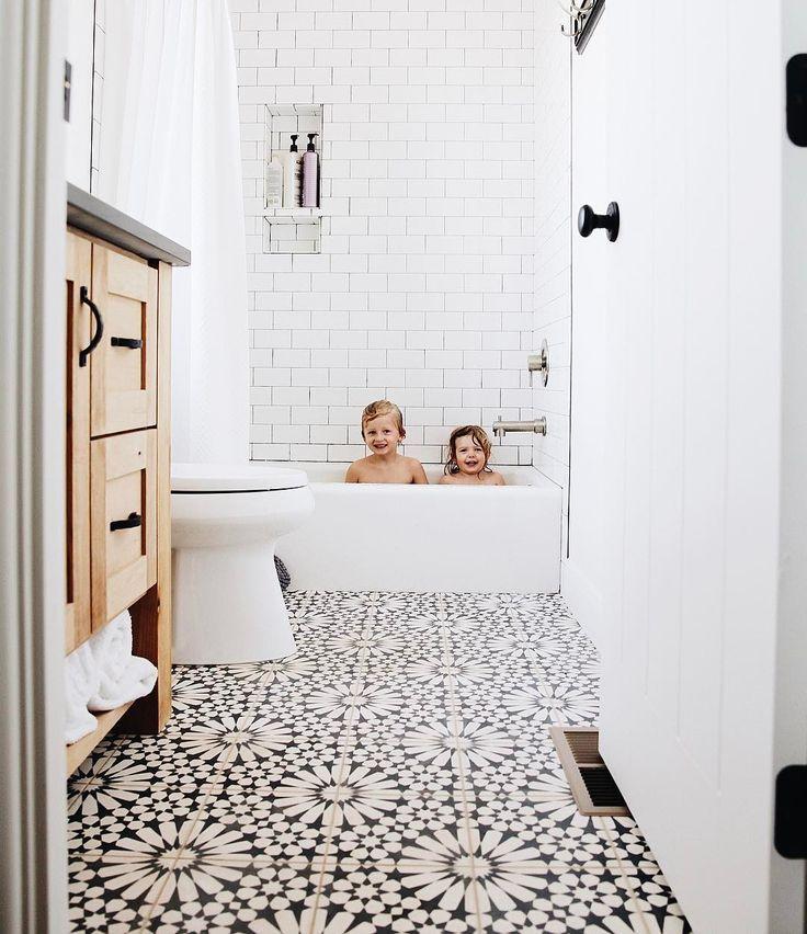 black and white floor tile moroccan tile  small bathroom