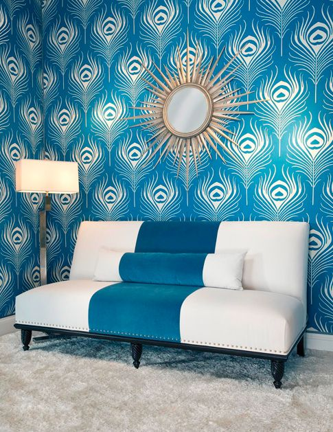 At first, I thought this was the Ferm Living Feather wall covering.  Pretty sure it's a Duralee fabric called Peacock Plume.  Oh so similar.