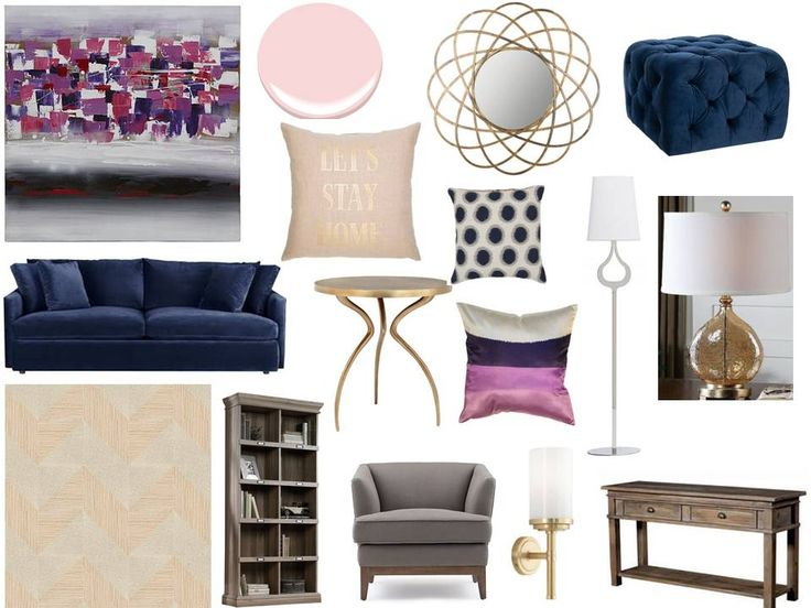 navy, pink, purple, print and gold, so glam! Interior decorating. home decor. home decoration. home styling. e-decor