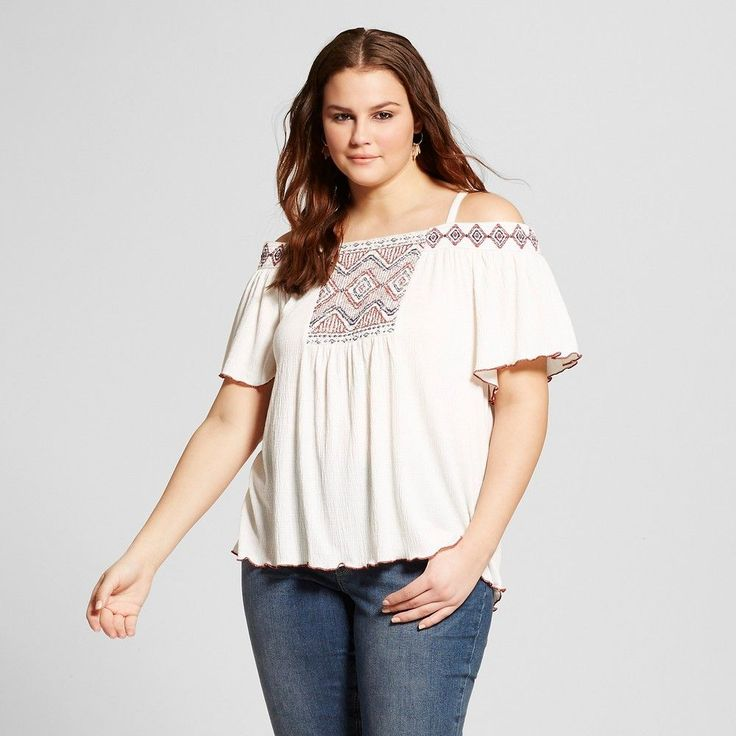 Women's Plus Size Smocked Off the Shoulder Top Off-White (Beige)