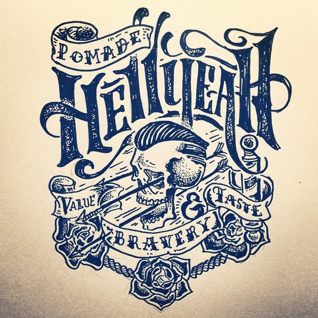 Sketch @pomade_hellyeah progress... #rockabilly#handmade #lettering #typo #typography #design