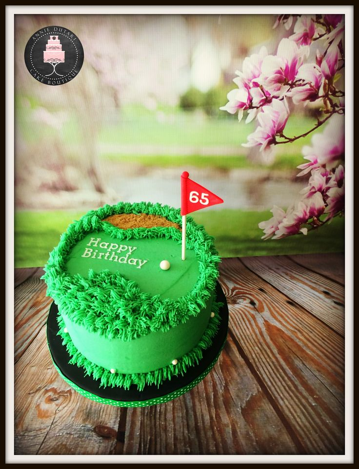 Golf birthday cake.  Chocolate cake with vanilla buttercream