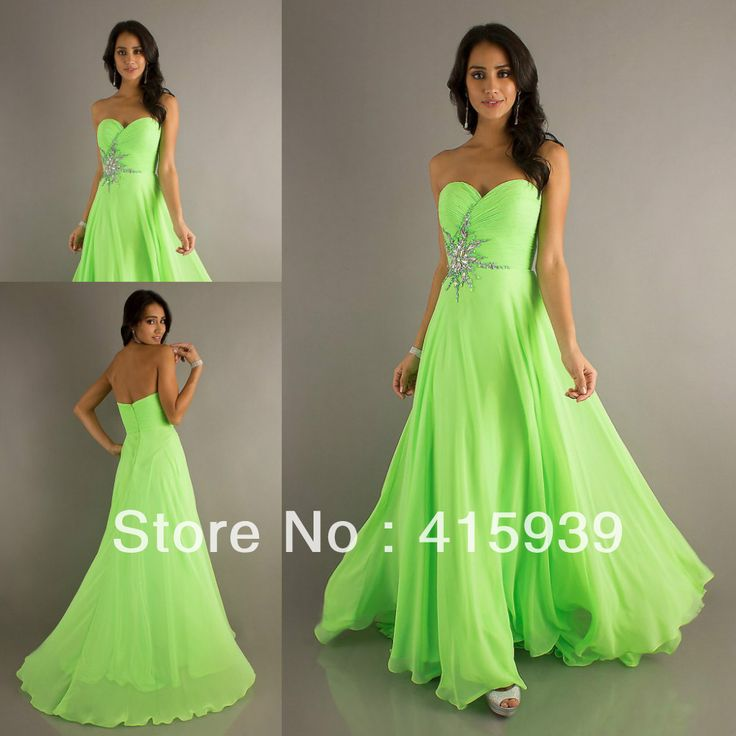 A modest prom dress,  lime green