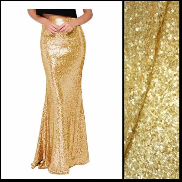 Shiny Gold Sequin Maxi Skirt ($75) ❤ liked on Polyvore featuring skirts,  silver - Pinterest'teki 25'den Fazla En Iyi Sequin Maxi Fikri