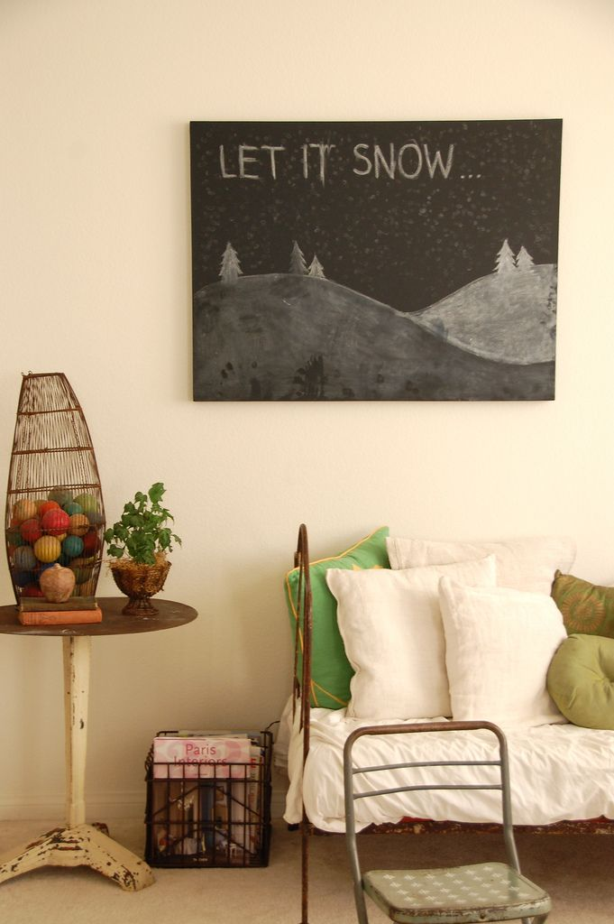 chalkboard paint on canvas. We did smaller ones  in a wine red to write our family values on and set them on an easel.