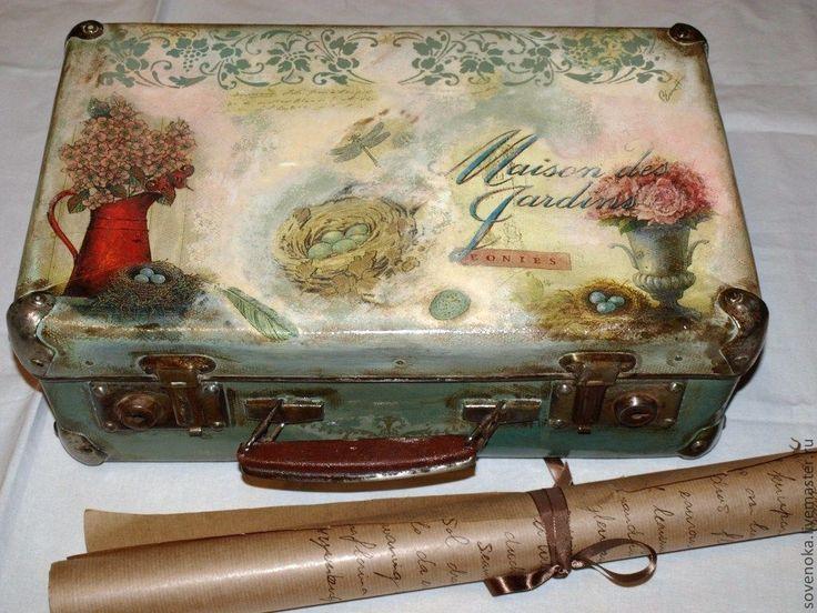 """Купить Чемоданчик """"Vintage"""" - оливковый, чемодан, чемоданчик, винтажный стиль, винтаж, короб для хранения, ретро"""