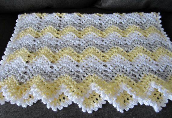 gender neutral, chevron, ripple, baby, crochet blanket, afghan crochet, crocheted blanket, crocheted afghan, yellow grey & white gray on Etsy, $53.95
