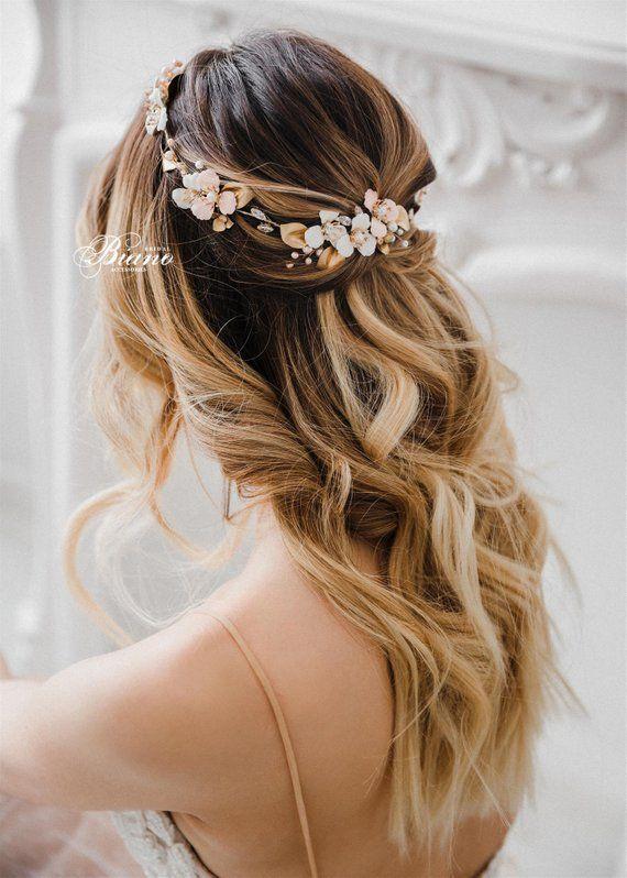 Bohemian Headpiece, Bridal Halo, Bridal Circlet, Marriage ceremony Headband For Bride, Gold Bridal Crown, Marriage ceremony Flower Crown-EMMA