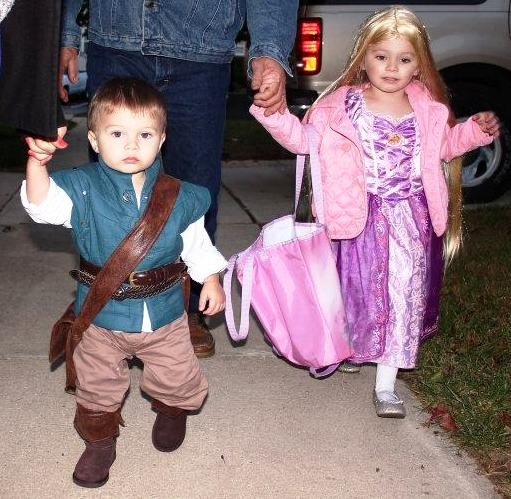 Halloween 2011. My granddaughter and grandson as Rapunzel and Flynn Rider from Disnely's Tangled.