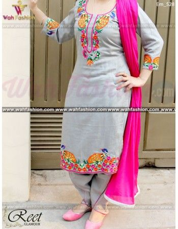 Give yourself a stylish & designer look with this Resplendent Gray Embroidered Punjabi Suit. Embellished with Embroidery work and lace work. Available with matching bottom & dupatta. It will make you noticable in special gathering. You can design this suit in any color combination or on any fabric. Just whatsapp us for more details.  For more details whatsapp us: +919915178418