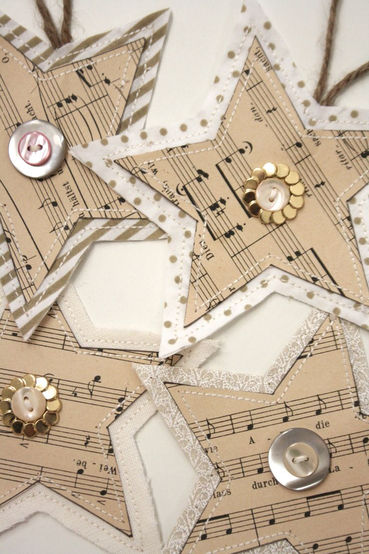 Sheet music christmas ornaments - Diy Christmas Paper Crafts Easy Ornaments A Gift Bag Made From Paper Easy Tutorials On 4 Projects I Would Not Destroy Actual Vintage Sheet Music