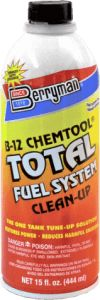 Berryman® B-12 Chemtool® Total Fuel System Clean-Up Formulated for vehicles that have not had regular fuel system maintenance. Uses H.E.S.T. and powerful detergents to maximize one-tank clean-up of intake valves, fuel injectors, carburetors,and combustion chamber. Dissolves gum, varnish, and carbon deposits in the entire fuel system to help restore lost power and peak performance. Improves starting, drivability, gas mileage, and injector life.