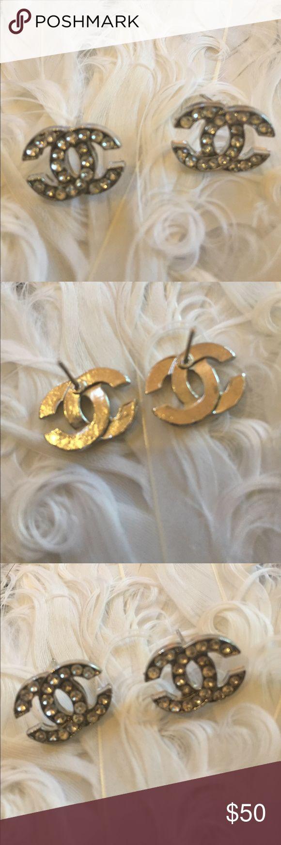Vintage logo Swarovski rhinestone earrings Vintage logo Swarovski rhinestone earrings, dime size Vintage Jewelry Earrings