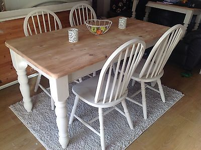 Farmhouse Solid Pine Shabby Chic Dining Table And Chairs Annie Sloan