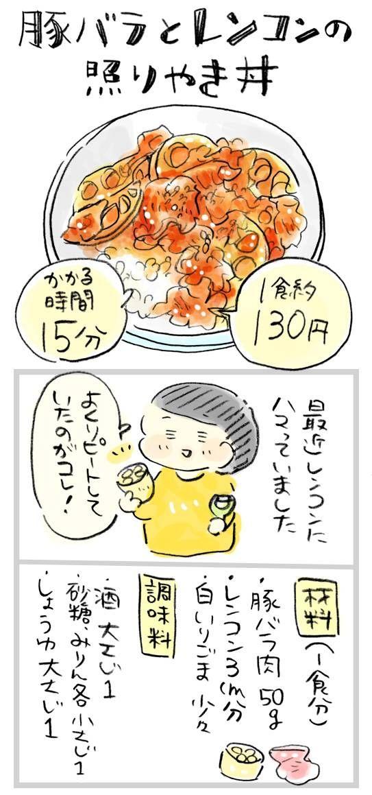【1食約130円】パパッとできて間違いない味!豚バラとレンコンの照り焼き丼 : おひとりさまのあったか1ヶ月食費2万円生活