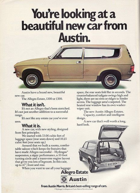 Austin Allegro Estate Car magazine advertisement. Can somebody please tell me why they have used the word beautiful here?