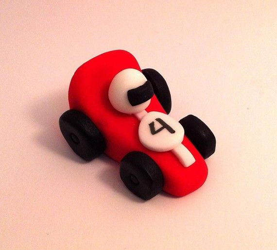 12 Race Cars Fondant Cake or Cupcake toppers by legacycraftyrosy