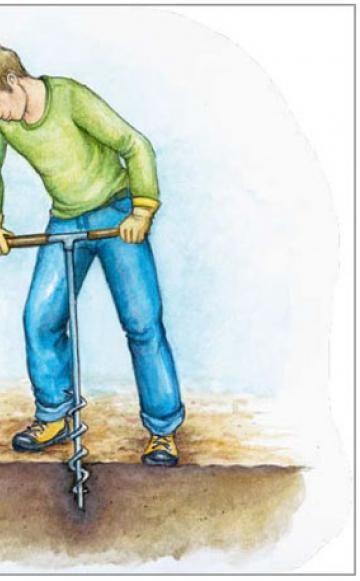 Mit einem Erdbohrer kann man auf stark verfestigten Böden Löcher für die Zaunpfosten vorbohren (links). Dadurch fällt das Einschlagen (rechts)leichter. Ein Kreide- oder Stiftstrich markiert die Einschlagtiefe (mindestens 30 Zentimeter)