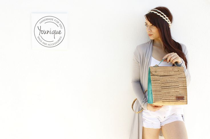 Handmade striped natural cork and light petrol suede minibag. Can be used as backpack, messenger or shoulder bag.