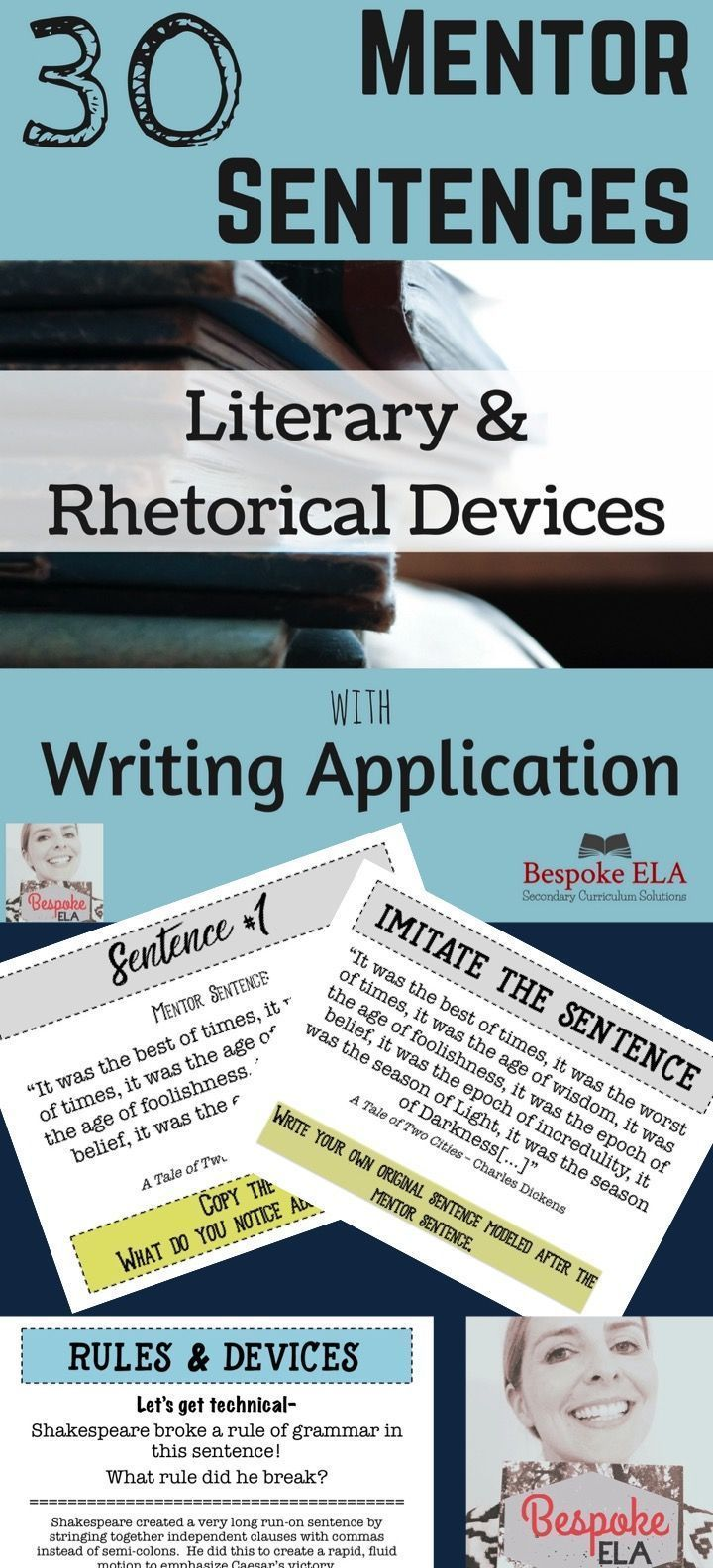 This product is a POWER POINT that contains 30 MENTOR SENTENCES from famous classic writers to model key literary terms, rhetorical devices, and syntactical structures for students.  For each sentence, students are to copy the sentence, make observations, imitate the sentence, and apply to writing revisions.  Great for high school English Language Arts.  by Bespoke ELA