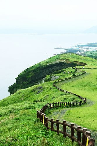 """Udo Island, South Korea. Udo, is located on the northeast of Seongsan-ri, 3.5 km off the coast of Jeju, South Korea. This is the largest of the islands included in Jeju-si. Udo, literally """"Cow Island"""" in Chinese, has this name because it looks like a cow lying down."""