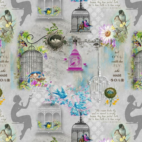 Bird & Bird Cages Fabric - Song Birds by Kathleen Francour for SPX Fabrics - 25304 Grey - Priced by the half yard