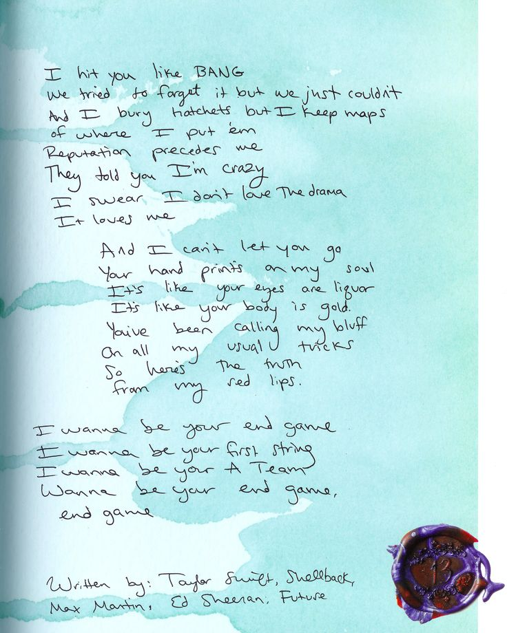 TSWIFTDAILY   i learned a lot from ethel kennedy — tswiftly: Handwritten lyrics from Reputation...