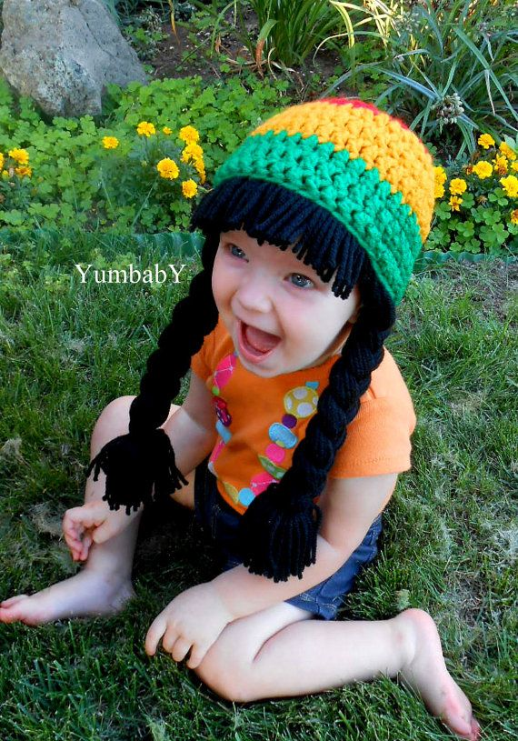 Baby Girl Rasta Beanie Wig Hat Rastafarian Red Green by YumbabY, $19.95 #halloween #costumes #rasta #hat #kids #cabbage #patch #wig #handmade #red #green #gold #pigtail #beanie