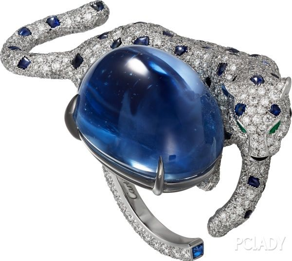 """CARTIER. """"Cartier Panthère Insaisissable"""" Ring - platinum, one 40.35-carat cabochon sapphire from Sri Lanka, cabochon-cut sapphires, pear-shaped emerald eyes, onyx, brilliant-cut diamonds. #Cartier #CartierMagicien #HauteJoaillerie #HighJewellery #FineJewelry #Panthere #Emerald #Sapphire #Diamond"""