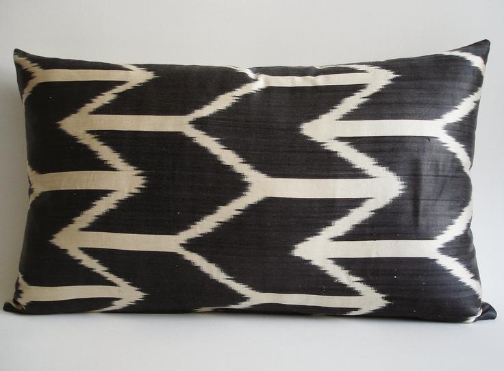 sukan lumbar pillow hand woven original silk ikat pillow cover dark gray - Decorative Lumbar Pillows