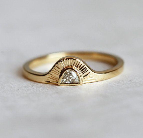 sunrise ring half moon diamond ring bohemian engagement ring bohemian wedding ring 18k yellow gold engagement ring - Bohemian Wedding Rings