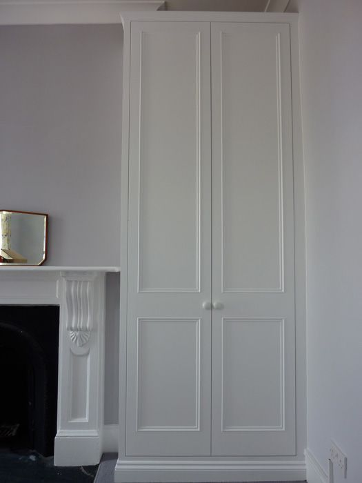 http://www.originalcupboardcompany.co.uk A pair of Traditional alcove wardrobes with shaker and beading style doors. Made in wood and MDF and hand painted in eggshell paint. Price: £1620 Plus VAT unpainted (a pair) £1975 Plus VAT painted (a pair) £15 Plus VAT per hanging rail £25 Plus VAT per shelf