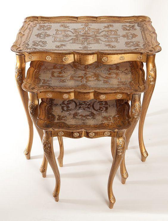 Set of 3 Italian Florentine Gold Toile Nesting Tables