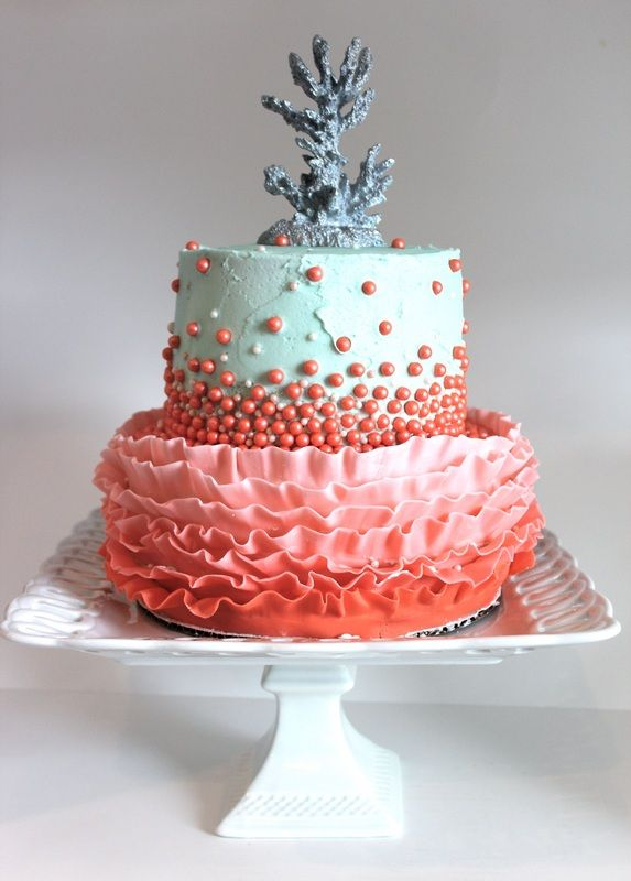 Coral cake for a 35th wedding anniversary - Cupcakes by Keckie