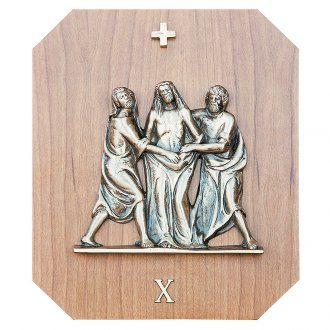 Vía Crucis latón madera de caoba 15 estaciones 23 x 28 cm | venta online en HOLYART