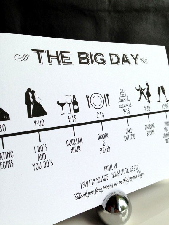 Custom DIY Printable Wedding Timeline in modern font in black and white in size 5x7