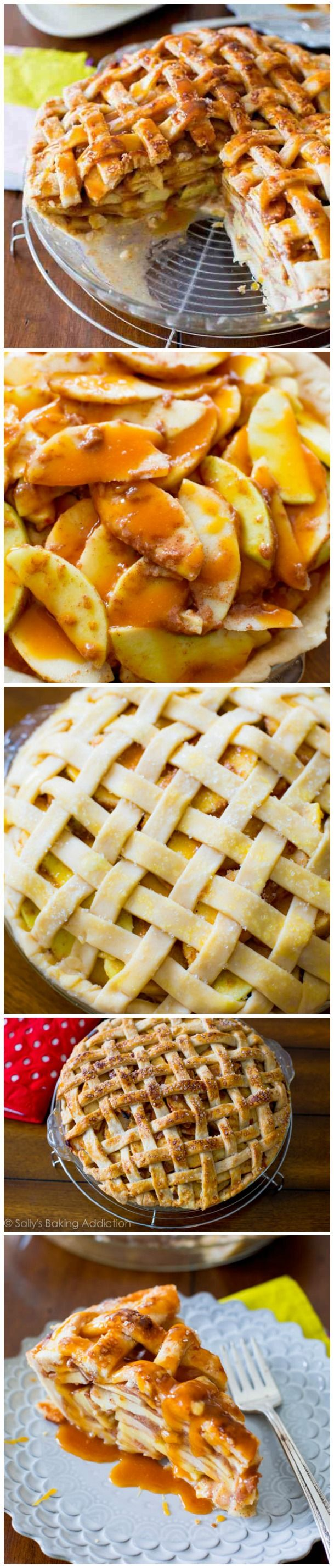 My favorite pie recipe! A classic lattice-topped all American apple pie bubbling with salted caramel and gooey, cinnamon apples.